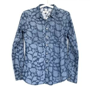 LOFT Blue Floral Buttoned Chambray Softened Shirt